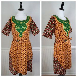 Dresses & Skirts - Colorful African Belted Floral Dress Size Large